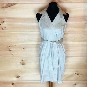 Ann Taylor Tan Sleeveless Khaki Shirt Dress